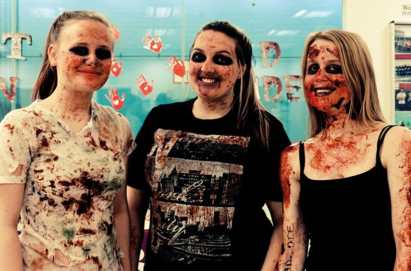 Students take part in a zombie run around college