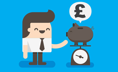 Illustration of a man next to a piggy bank sat on top of some scales.