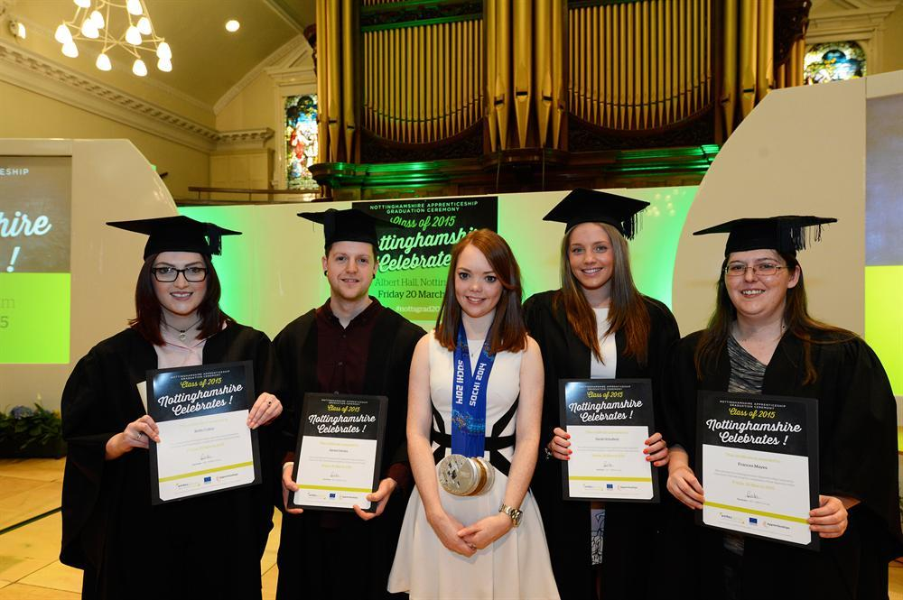 Medal-winning Paralympian Jade (centre) with graduating apprentices (from left) Beth Colley, James Davies, Sarah Schofield and Frances Mayes.
