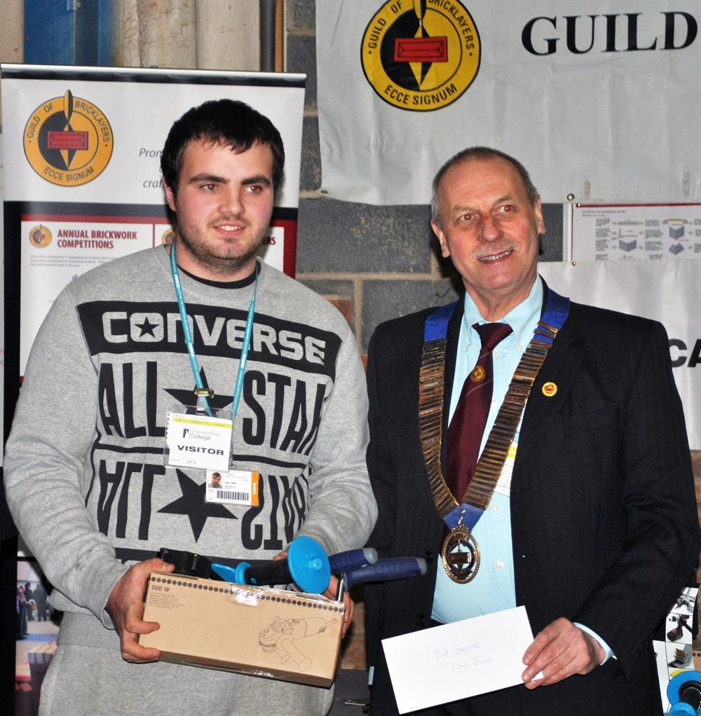 Liam Jones with Phil Hodgkinson, president of The Guild of Bricklayers